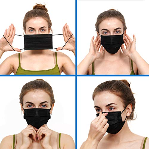 ZTANPS Face Mask,Pack of fifty Black Disposable Face Mask for Men & Women