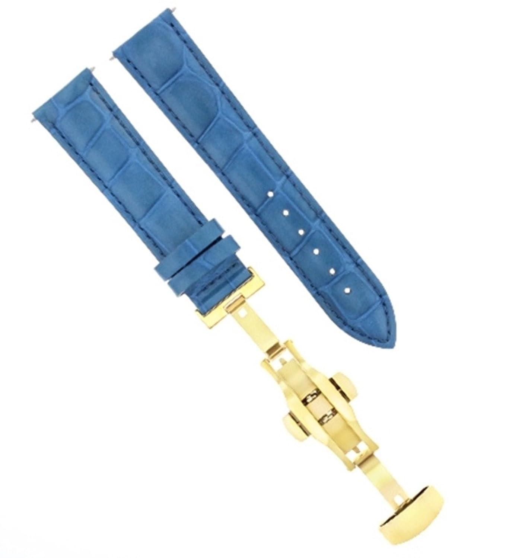 17 18 19 20 21 22 23 24 mmレザーバンド腕時計ストラップClasp for MONTBLANC 2bゴールド 19mm ライトブルー  ライトブルー 19mm B07DHMWCTF