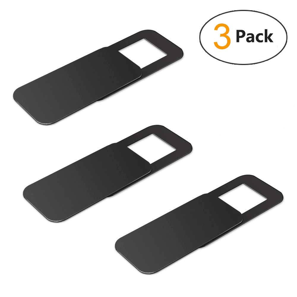 WeThinkeer T10 Laptop Camera Cover [3 Pack], 0.03 inches Super Slim Slide Webcam Cover for Computer, iMac, MacBook Pro, Cell Phone, Web Cam Security Cover Protect Your Privacy, Camera Blocker - Black T10Black003-USNew