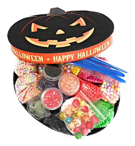 Homemade Halloween Decorations With Paper (Halloween Foam Beads for Slime 19 Pack Supplies Kit - Include Colorful Dark Colors Foam Balls, Confetti Stars, Skulls & Spiders + Slime Tools Set | for Kids DIY Homemade)