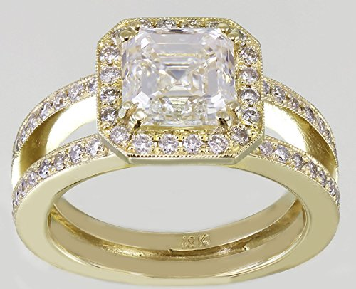 18k Yellow Gold Asscher Cut Forever One Moissanite and Diamond Engagement Ring Halo 2.70ctw