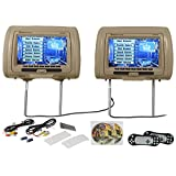 Rockville RVD951-BG 9-Inch Beige Dual DVD/USB/HDMI/SD Car Headrest Monitors Plus Games