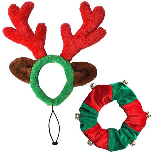 PUPTECK Christmas Reindeer Antlers Headband Dog Costumes Accessories