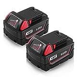 M18 Battery for Milwaukee 18V REDLITHIUM 4.0Ah XC Battery Pack 48-11-1852 48-11-1820 48-11-1815 48-11-1850 (2 Packs)