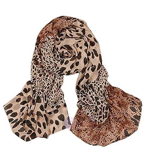 L-Asher Women Girls Fashion Leopard Pattern Animal Print Long Shawl Scarf Wrap