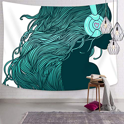 - Peyqigo Wall Hanging Tapestry 60x80 Inch Polyester DJ Girl Profile Long Hair Headphones Nightclub Silhouettes Party Picture Bedroom Living Room Dorm Decoration Picnic Mat Beach Towel