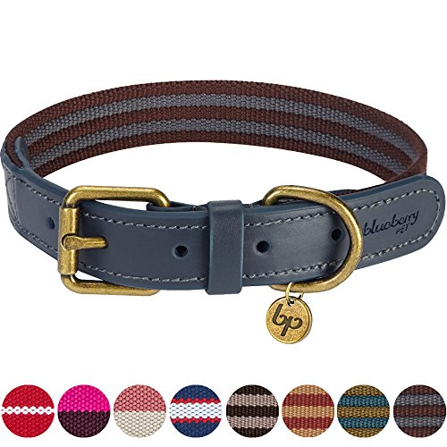 Blueberry Pet 8 Colors Polyester Fabric and Soft Genuine Leather Webbing Dog Collar in Noir Grey and Burgundy, Large, Neck 18
