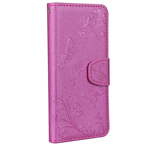 Huawei Honor 9 Hülle,Carols Huawei Honor 9 Handyhülle, Spiegel Schutzhülle für Huawei Honor 9 Hülle mit Make Up Ultra-Slim Mirror Case,[Geprägter Schmetterling] PU Leder Flip Case Cover Handy Schutz B Rosa