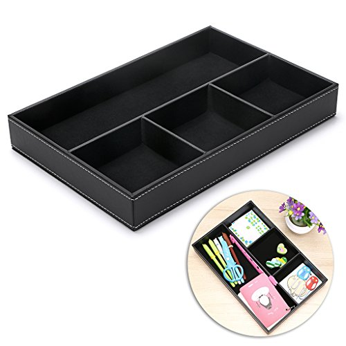 (BTSKY 4 Slots Desk Drawer Organizer, PU Leather Drawer Storage Organizer Divider for Office Desk Supplies Value Collection and Accessories Multi-Purpose Storage Desktop Organizer Tray(Black))
