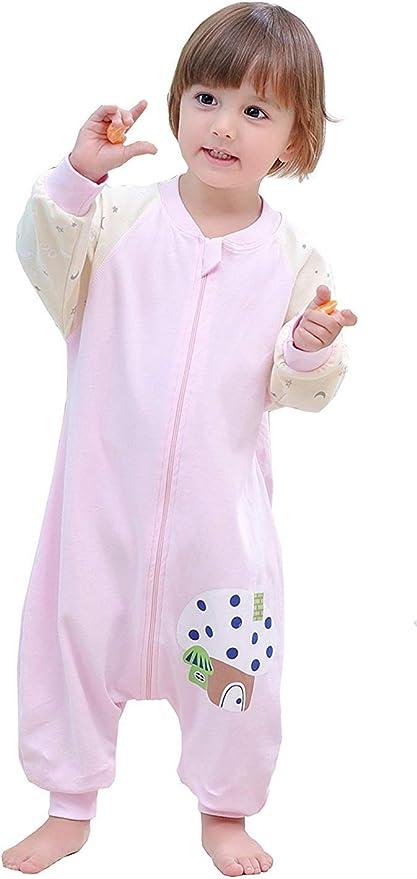 Emmala Saco De Dormir para Bebé Casual Chic con Pies Y Manga Larga Pijama Unisex Sin Forro Algodón Verano Primavera Saco De Dormir para Niños Azul 100 Tamaño del Cuerpo 100 110Cm:
