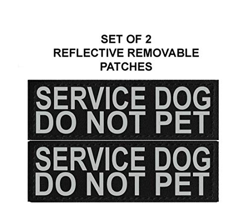 Doggie Stylz Set of 2 Reflective Service Dog DO NOT PET Removable Patches (Large 6 x 2 inches)