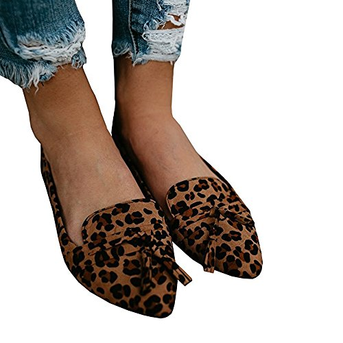 Slip LAICIGO Faux Booties Casual Pointed Y Toe Boots Heel Tassel Low Flat Ons and Loafers Ankle Suede leopard Womens tgqPrt