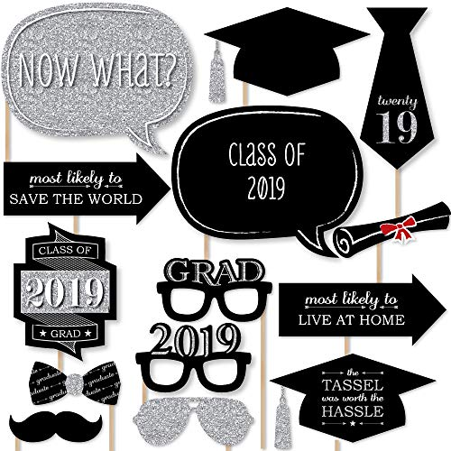 (Big Dot of Happiness Graduation Party - Silver - 2019 Grad Photo Booth Props Kit - 20)