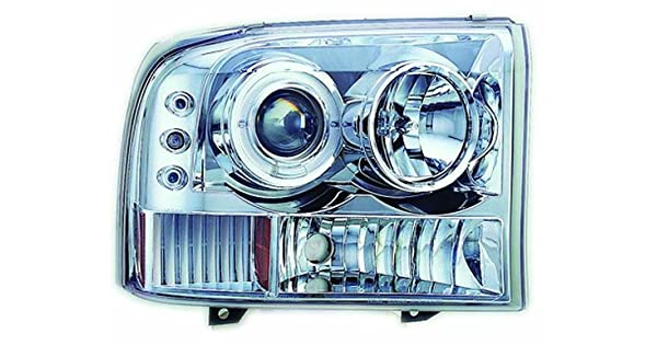 IPCW CWS-519C2 Clear Projector Headlight with Rings Pair Corners and Chrome Housing with Amber Reflector