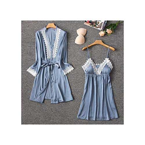 Silk Pajamas Sleepwear Suit New 2019 Summer Lace Lingerie Pyjama Satin Pajama Set Nightwear,Gray1,M (Best Selling Scentsy Bars 2019)
