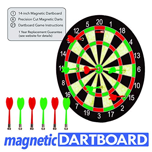 INVENTHQ Magnetic Dartboard Set - 14 inch Dartboard, 6 Magnetic Darts and 21 Game -