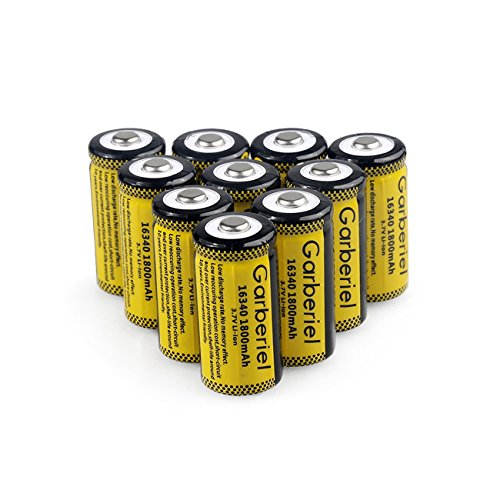 10 Pack 16340 Batteries, 1800mAh RCR123A 3.7V Battery Li-ion Rechargeable CR123A for LED Flashlight