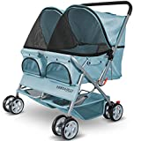 Paws & Pals Double Dog Stroller Easy Walk Folding Travel Carriage for Pets & Cats - Blue