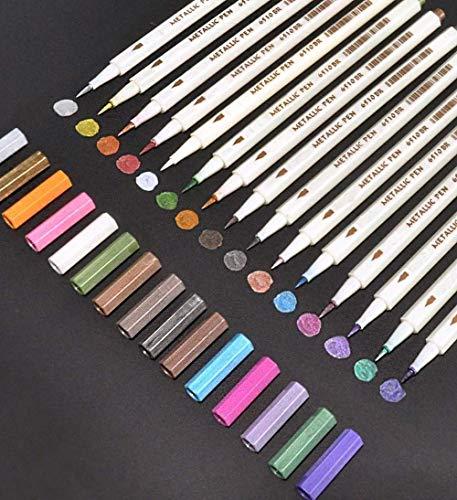 AveDistante Metálico Rotuladores de 15 Colores, Pluma de Pintura de Caligrafía Metálica para Hacer Tarjetas, Pintura de...
