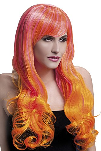 Fever Women's Pink and Orange Long Wig with Soft Curls and Bangs, 28inch, One Size, (Emily B Halloween Costume)