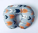 Nursing Pillow Cover - Grey, Navy and Orange Arrows