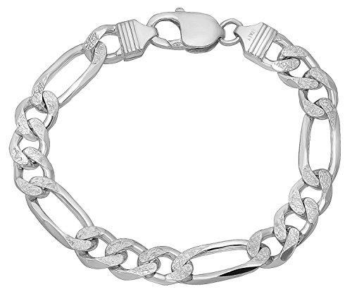 9.5mm 925 Sterling Silver Nickel-Free Diamond-Cut Figaro Link Italian Bracelet, 8