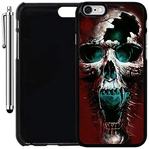Custom Case Compatible with iPhone 6/6S (4.7 inch) (Scary Wicked Skull) Plastic Black Cover Ultra Slim | Lightweight | Includes Stylus Pen by Innosub -