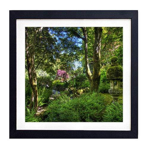 GLITZFAS PRINTS Framed Wall Art- Garden Green Fern Trees Moss- Art Print Black Wood Framed Wall Art Picture for Home Decoration - 14