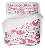 Emvency 3 Piece Duvet Cover Set Brushed Microfiber Fabric Breathable Pink Love Hand Drawn Cartoon Romantic in Heart Drawing Sex Cupid Arrow Pencil Bedding Set with 2 Pillow Covers Twin Size