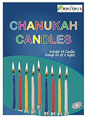 The Dreidel Company 44 Colorful Hanukkah Candles For All 8 Nights of Chanukah