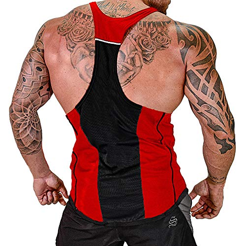 ZOXO Men's Workout Gym Tank Top Fitness Bodybuilding Stringer Muscle Cut Sleeveless Tshirt Medium Red