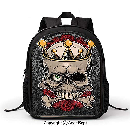 Cute School Backpacks Book Bag,Gothic Decor,Skull with Crown Roses Bones Dead King Halloween Illustration,Tan Marigold Dark Grey red,Boys Girls student bag