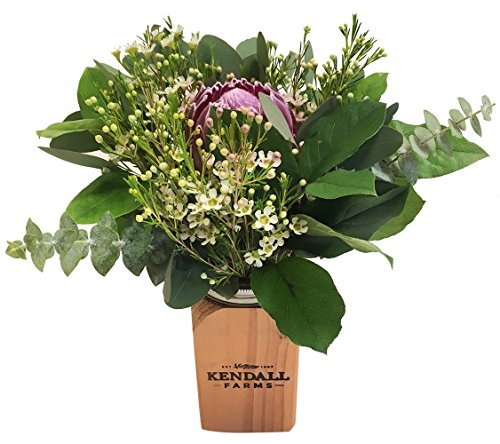 Flower Arrangements - Kendall Farms Mason Bouquet - Farm Fresh & Locally Sourced Floral Beauty - Premium Pick of the Crop - Freshest Seasonal Selection - Family Owned & Operated Farm (Wood Mason Jar)