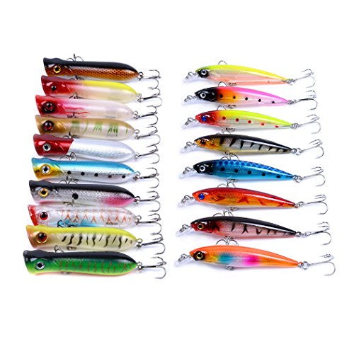 (Aorace Fishing Poppers Minnow Laser Lures 3D Eyes Jerk Bait Topwater Hard Popper Lures for Bass Salmon Trout Swimbaits 18Pcs/lot Fishing Tackle Set Saltwater Freshwater)