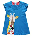 Fiream Girls Casual Cotton Dresses Short Sleeves Baby Girls Dresses(6684,5T/5-6YRS)