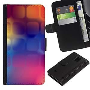 KingStore / Leather Etui en cuir / Samsung Galaxy S5 Mini, SM-G800 / Púrpura Naranja Púrpura Polígono