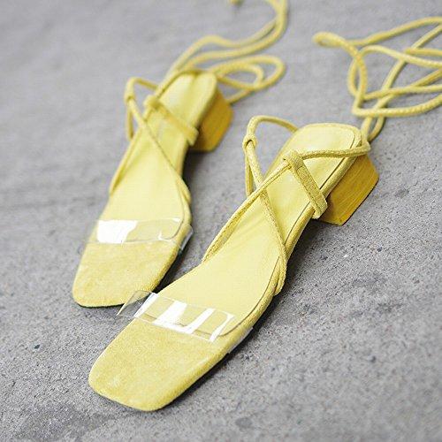 DHG Mode Épais de des avec 38 Jaune Chaussures Chaussures Romaines Sexy wRrqBwY4
