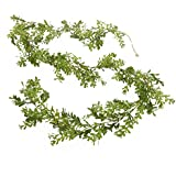 6 Feet of Airy Artificial Vinyl Boxwood Leaf Garland for Decorating, Crafting and Embellishing