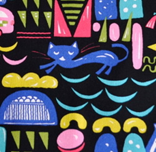 手芸のいとや 生地 綿麻キャンバス布 おもちゃとネコ ブラック 生地幅-約106cm×50cmカット 綿85% 麻15% 手芸・ハンドメイド用品