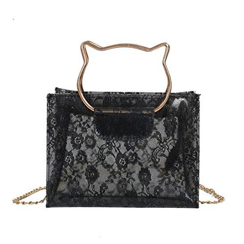 Black Leather Lace Hobo - Fashion Bags Lace Beach Bag Women Messenger Shoulder Cute Waterproof Crossbody Bag,GINELO (Black)