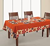 ShalinIndia Duck Cotton Printed And Solid Table Cover 6 Seater Orange Rectangle 60X90 Inch