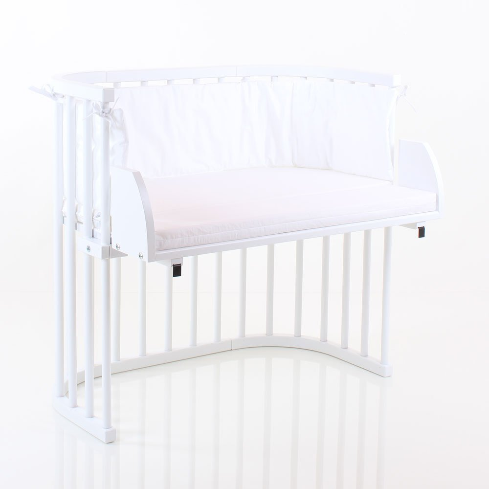 Babybay Original, Midi und Mini Mini Mini Verlängerungsseite weiß lackiert inkl. Matratzenergänzung weiß (nicht gleichzeitig verwendbar mit babybay Verschlussgitter) 58b047