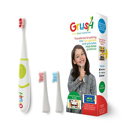 Grush Smart Electric Toothbrush Makes Brushing Fun for Kids with Interactive Brushing Games and Precise Tracking and Monitoring for Parents by Grush