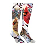 Comfortable Winter Bird Snow Long Socks High Socks Knee High Thigh Stockings