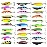 30 PCS Fishing Metal Lures Colorful Metal Casting Fishing Spinner Baits Spoon Fishing Lures Sharp Treble Hooks Tackle Kit
