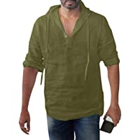 قميص سادة للرجال بغطاء للرأس بأكمام طويلة فضفاضة من القطن والكتان بأزرار، مقاس كبير