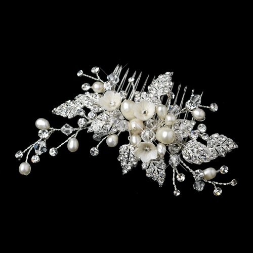 Antoinette Diamond White & Freshwater Pearl with Pave Rhinestone Leaves Wedding Bridal Special Occasion (Antoinette Pearl)