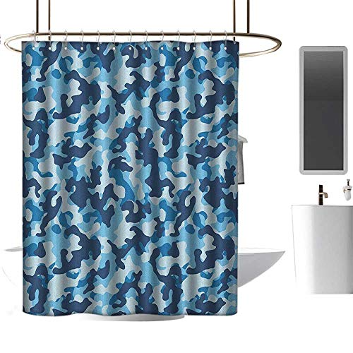 Qenuan Polyester Shower Curtain Camouflage,Costume Pattern with Vibrant Color Palette Abstract Composition Concealment, Blue Coconut,100% Polyester Fabric Bathroom Drapes 72