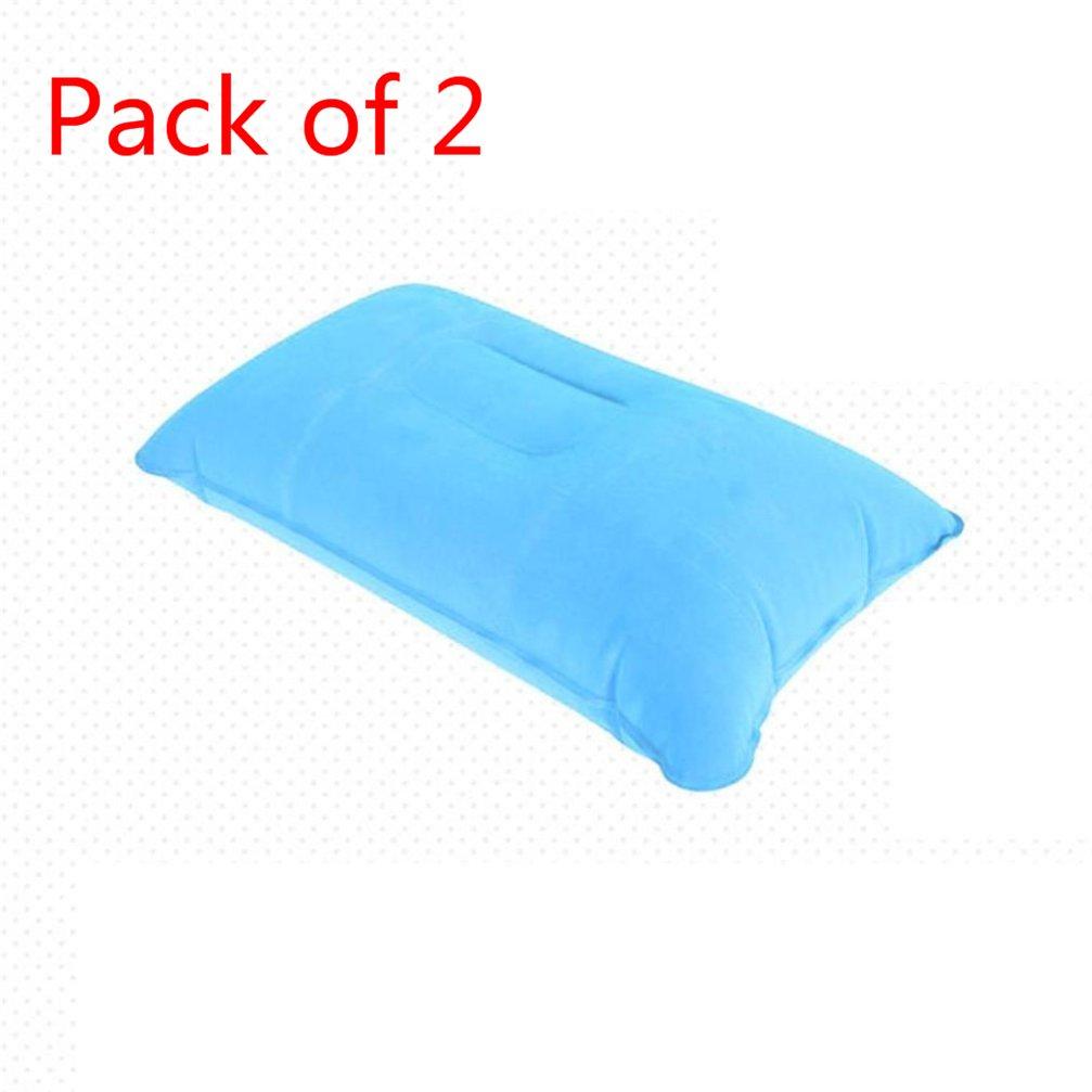 2pack Travel Pillow Inflatable Pillow Air Cushion Camping outdoor activities Beach Car Head Rest Support (Light blue)