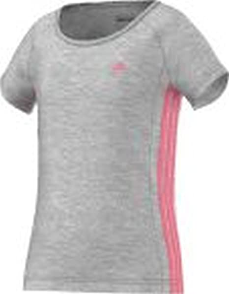 Adidas YG ESS M tee - Camiseta para Mujer, Color Gris/Rosa, Talla